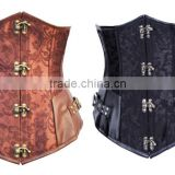 100% Late walson s-6l Steampunk Woman Corset Brown Leather Bustier Steel Boned Waist Cincher wholesale