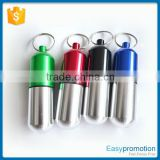 Customized metal aluminum pill box keychain/keychain pill holder Wholesale