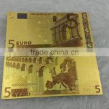 5 EURO Gold Foil Euro 24K colorful Gold Banknote for business gifts