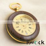 Antique Bronze Necklace Wooden Pocket Watch Pendant Clock Gift japan movt quartz pocket watch