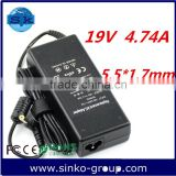 Factory OEM power supply adapter universal power Adapter/notebook charger Ac Adapter for acer 19V 4.74A