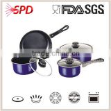 High quality SGS FDA 7 Pcs die-casting purple nonstick metal coating cookware set with Bakelite