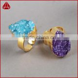 Trendy! Natural Fashion Drusy Druzy Agate Rings Druzy Stone Ring Statment Ring                                                                         Quality Choice