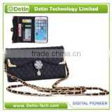 Tripod Wallet Leather Case Lady Handbag with chain strap make for any brand phone models