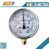 Half Stainless steel vibration proof compound kpa low pressure gauge