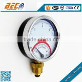 (YW-100A) 100mm common functional dial style double pointer standard male thread connection hot water temperature gauge