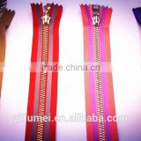 wholesale custom gold metal zipper with gold teeth