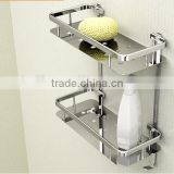 High quality Stainless steel bathroom rack double layer rectangular shower caddy bathroom steel baskets