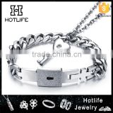 Lovers Jewelry Set Stainless Bracelets Bangles Eternal Love Heart Lock key bracelet pendant                                                                         Quality Choice