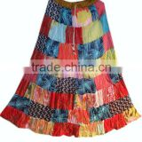 Indian Cotton Boho Hippie Girls Skirt Cotton Patchwork Fashionale Long SKirt Floral Print Skirt