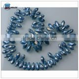 Blue teardrop glass beads for decorating crystal beads string