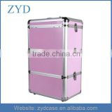 High Quality Pink Salon Trolley Makeup Box Mobile Large Aluminum Cosmetic Case ZYD-HZ82103
