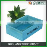 Hot custom Blue Wooden plant pot storage box                                                                                                         Supplier's Choice