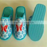 sky blue warm cotton insole home girls bathroon slipper open back heel ladies indoor bathroom slipper