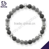 hot sale costume silver jewelry beads woven bracelet patterns