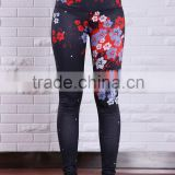 High quality flower print sublimation prints cheap wholesale korean sexy lady tights leggings