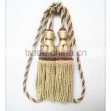 Double bullion tassels tieback with small flower, decoration tiebacks for curtain