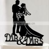 Personalized Mr And Mrs Groom & Bride Silhouette Rustic Wedding Cake Topper Gift