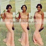 (MY2307) MARRY YOU One-shoulder Lace Mermaid Peach Color Bridesmaid Dress                                                                         Quality Choice