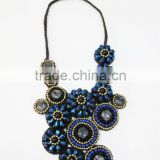Mixed Color natural stones and Crystal, Beads Wax cotton thread : Stone necklace WT92