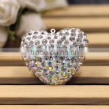 AB Color Fancy Heart Shape Shamballa Charm Beads For Fashion Necklace