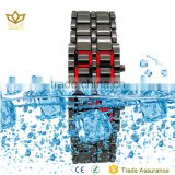 Fashion Style black alloy watch case and band stainless steel waterproof watches large led digital display watches