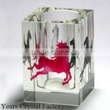 Custom Glass Crystal Globe Pen Holder for Business Souvenirs