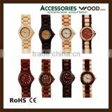 hot sale fashion exquisite wood watch high quality japanese quartz movement watches classic for women