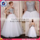 Heavy hand beaded bodice & sweetheart neckline design & big ball gown crystal appliques for wedding dresses