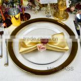 Wholesale Cheap Unique Events and Rental Gold Silver Rimmed Glass Wedding Charger Plate