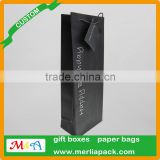 Black Wine Bag Euro Hook Paper Bag With Swing Tag Loop Handles