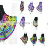 vintage retro thai style HIPPIE BOHO tie dye black top handmade polka dot butterfly bat wing kaftan tank umbrella dress