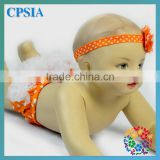 orange white polka dot cotton ruffle shorts with flower headband newborn baby bloomers wholesale
