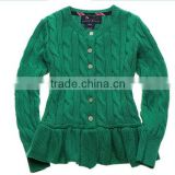 latest children girls cable knit ruffle buttom down long cardigan sweater
