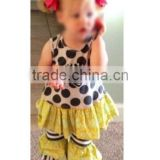 girls boutique outfits white and black polka dots with ruffle suit white and black stripe 2ruffle pants girls outfits