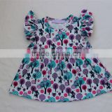 lastest kids flora tunics shirt wholesale girls trees and flowers printed plain baby kids t-shirts