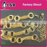 lastest Custom made lady decoration metal waist chain metal fashion jewelry waist belt