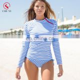 2017 custom made printed blue and white stripe women rashguard suit for surfing and bathing
