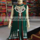 Anarkali stone work Suit Indian Pakistani Designer Party Wear Green Salwar Kameez