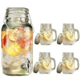 4L ICE CLOD DRINK GLASS BEVERAGE DISPENSER WITH /4 GLASS MASON JARS