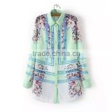 China Wholesale Floral Custom Print Fashion Women Clothing Long Sleeve Women Casual Shirt