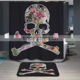 Polyester printed shower curtain human skeleton pattern digital printing shower curtain