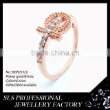 hot selling for ladies or girls rose gold plated 925 silver diamond rings silver ring designs for girl
