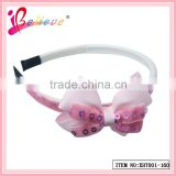 Simple style double layers sequin pink hair bow hairband little grils headbands (XHT001--160)