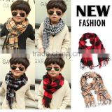 Fashion Classic Baby Boys Girls Autumn Winter Checked Plaid Knitted Scarf With Tassels