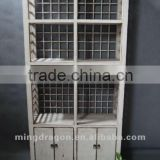 Chinese antique furniture pine wood white four door two drawer shelf