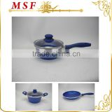 MSF-6659 Various sizes of frypan 18cm to 30cm interior blue marble non stick coating long handle with silicon coating