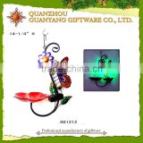Glass metal bird feeder decorations hangers with solar light