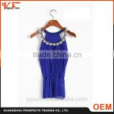 OEM factory Latest Chinese custom fashion sleeveless neck crystal beaded mesh royal blue sleeveless lady top