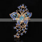 Aqua Rhinestone Flower Scarf Buckle,Blue Rhinestone Butterfly brooches and pins for dresses